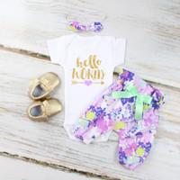 Hello World Baby Take Home Outfit | Purple Flowers High Waisted Pants outfit with Sparkly Gold Hello World with Arrow