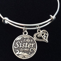 Like A Sister to Me Charm on a Silver Plated Expandable Bracelet Adjustable jewelry Charm Bracelet