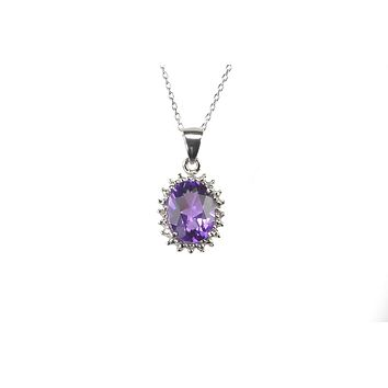 925 Sterling Silver Diamond and Amethyst Necklace 16mm Oval 18 Inch Chain
