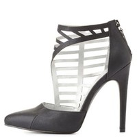 Qupid Side Caged Pointed Toe Pumps by