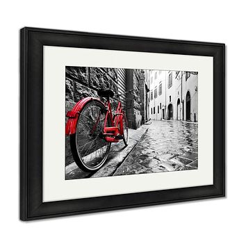 Framed Print, Retro Vintage Red Bike On Cobblestone Street In The Old Town Color In Black And