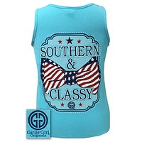 Sale Girlie Girl Originals Southern Classy USA Bow Comfort Colors Lagoon Blue Shirt Tank Top