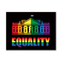 LGBT Gay Pride White House 3x4in. Rectangular Sticker