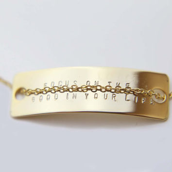 Personalized Message Bracelet / Bridesmaid Gift / Personalized Custom Engraving / Monogram Initial Name Bar Jewelry