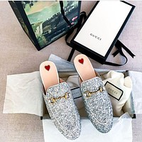 Gucci Fashion Women Shiny Glitter Sandals Slipper Shoe I