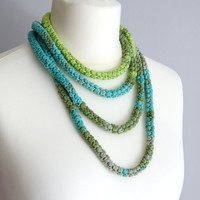 Skinny scarf, green, turquoise, gray crochet cotton necklace, thin tube, african style necklace, fashion accessory, tribal necklace