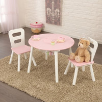 Round Table & 2 Chair Set Pink & White