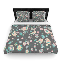 "Nika Martinez ""Cute Winter Floral"" Gray Pastel Woven Duvet Cover"