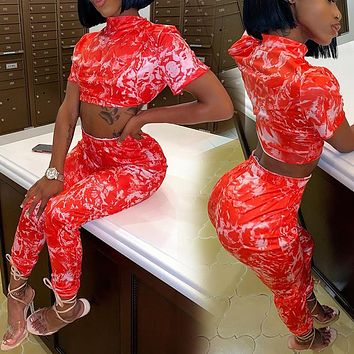 New 2020 fashion print cropped top casual pants suit