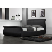 Queen size Modern Sleigh Style Platform Bed in Black Faux Leather
