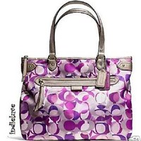 COACH DAISY KALEIDOSCOPE PRINT EMMA TOTE BAG PURSE SILVER/PURPLE F23939 - F24450