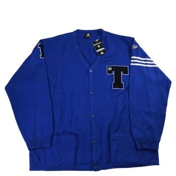 Adidas Tracy McGrady TMac Letterman T Patch Blue Wool Cardigan Sweater Mens Size 3XT