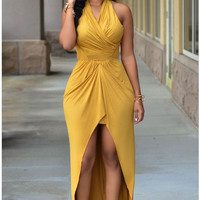 Yellow Ruffled Maxi Dress