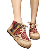 Vintage Embroidered Women Shoes Thai Boho Cotton Linen Canvas Cloth Single National Handmade Woven Round Toe Lace Up Flat