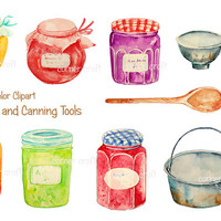 Watercolor clipart jam jar and canning equipment printable instant download