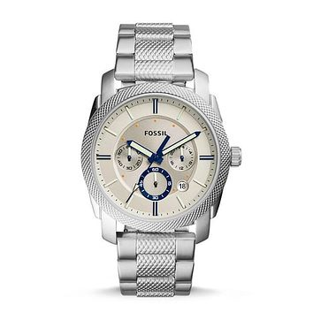 Machine Chronograph Stainless Steel Watch, Silver   Fossil®