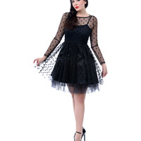 Black Dotted Mesh Long Sleeve Fanny Flare Dress