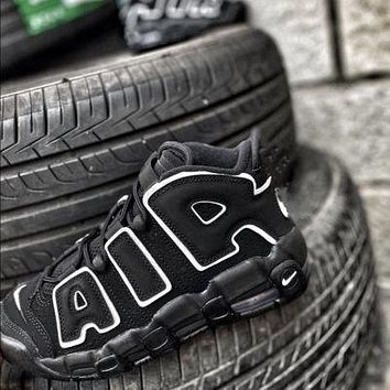 Nike Air More Uptempo OG black and white panda gray and black stitching couple casual sneakers sports shoes