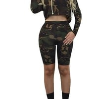 Camouflage Hooded Crop Top with Skinny Shorts Two Pieces Set