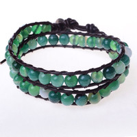 Green Agate and Leather Wrap Bracelet