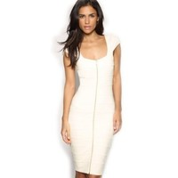 Miusol Women's sexy White Zips Slim Ladies Cap Sleeve Stretch Cocktail Party Dresses ,White,XX-Large/US Size 12
