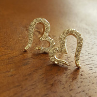 Vintage dainty earrings antique Gold plated and silver plated stud earrings heart shape dainty jewelry