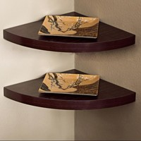 Danya B Walnut Laminate Corner Radial Shelves (Set of 2)