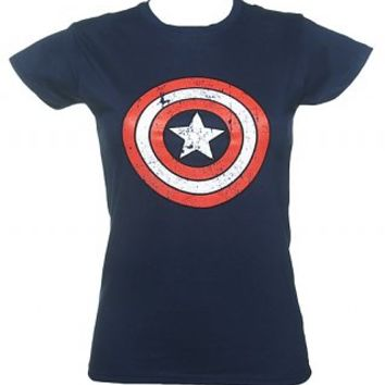 Ladies Blue Captain America Distressed Shield Marvel T-Shirt : TruffleShuffle.com