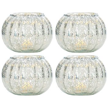 4 Pack   Small Vintage Mercury Glass Candle Holders (3.5-Inch, Autumn Design, Silver) - For Home Decor, Party Decorations, and Wedding Centerpieces