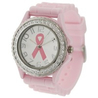 Pink Ribbon Geneva Crystal Rhinestone Breast Cancer Awareness Silicone Rubber Jelly Watch