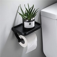 Wall Mounted Black Toilet Paper Holder Tissue Paper Holder Roll Holder With Phone Storage Shelf  Bathroom Accessories