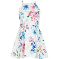 River Island Girls white floral print dress