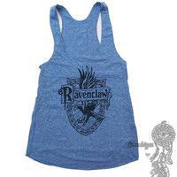 Ravenclaw #2 Crest One color print on Tri-blend Tank American Apparel TR308