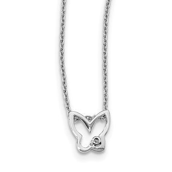 SS White Ice Diamond Butterfly Necklace QW451
