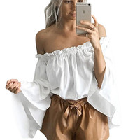 White Ruffled Off Shoulder Bell Sleeve Top