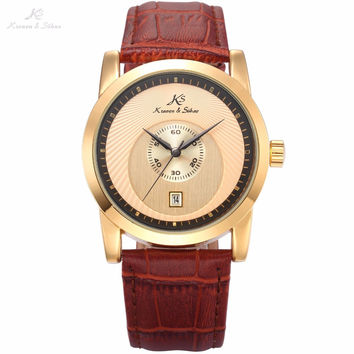 Luxury KS Golden Case Dial Auto Men Male Mechanical Wrist Watches Date Display Brown Leather Band Strap Clock + Gift Box / KS330