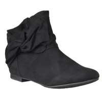 Bamboo Womens Tiara Knot-detail Microsuede Ankle Boots