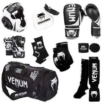 Venum Challenger 2.0 MMA Training Bundle, Black Gloves, Black In-Step Shinguards, Black MMA Gloves, Black Headgear, Black Handwraps, Black/White Mouthguard, Black Sport Bag, Black Ankle Support, Black Elbow Protector, 16-Ounce Boxing Gloves, Large/X-Large