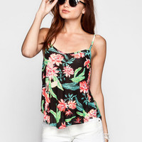 Chloe K Tropical Print Womens Cage Back Tank Black Combo  In Sizes