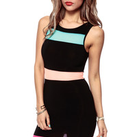 Night Time Neon Black Body Con Dress