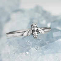 Bee Ring Solid .925 Sterling Silver Ring Bumblebee Stacking Rings
