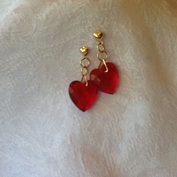 Earrings ,Dangle , Vintage ,Red Faceted Lucite Hearts