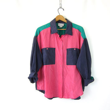 PINK Silk Button Up Blouse 80s Color Block Black Pink Shirt Mod 1980s Top Slouchy Patchwork Blouse 1980s Vintage Womens size Large
