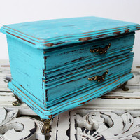 Vintage Turquoise Footed Jewelry Box , Hand Painted & Distressed , Shabby Chic Room Decor , keepsake Box