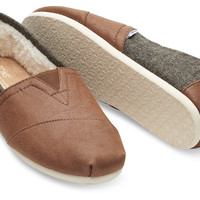 DARK EARTH COATED CANVAS FAUX SHEARLING MEN'S CLASSICS