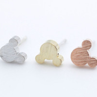 Tiny Mickey Mouse studs earrings in matte gold and silver