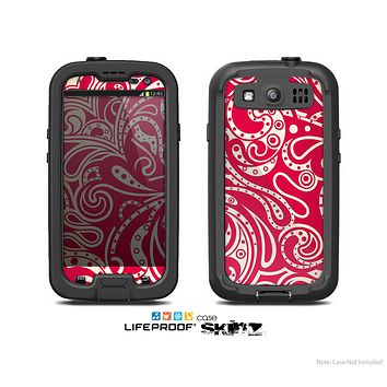 The Red Floral Paisley Pattern Skin For The Samsung Galaxy S3 LifeProof Case