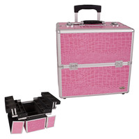 Pink Crocodile Textured Professional Rolling Makeup Case Organizer with Dividers 3 Tier