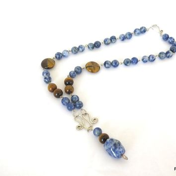 Blue Sodalite and Tigers Eye Necklace