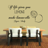 Italy Wall Decals Quote Lemons Limoncello Food Meal Stickers Cafe Kitchen Decor Vinyl Decal Sticker Home Art Mural Interior Design KG595